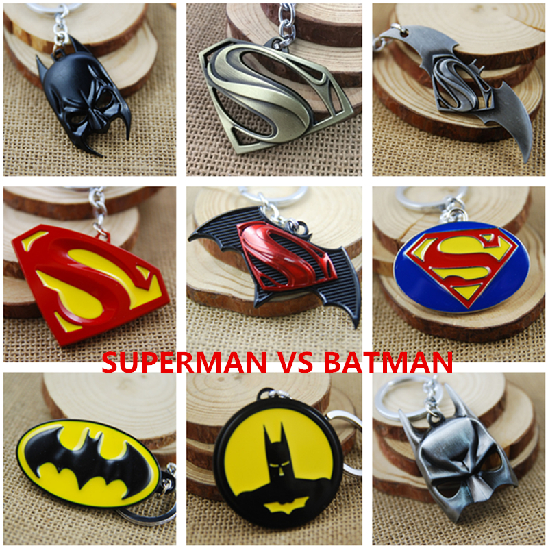 DC Comics фильм Супермен против Бэтмен фигурку металлический брелок игрушка подвеска chaveiro Нержавеющаясталь игрушка Игрушки-приколы