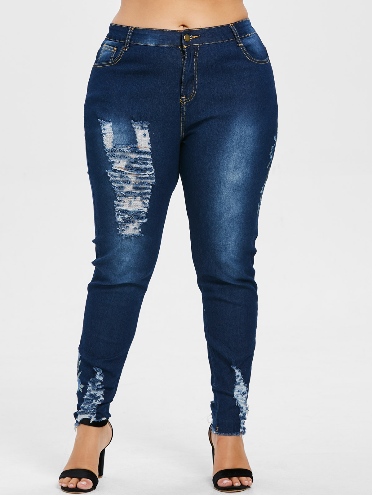 97320eab298 Floral Embroidered Torn Jeans Women Pant
