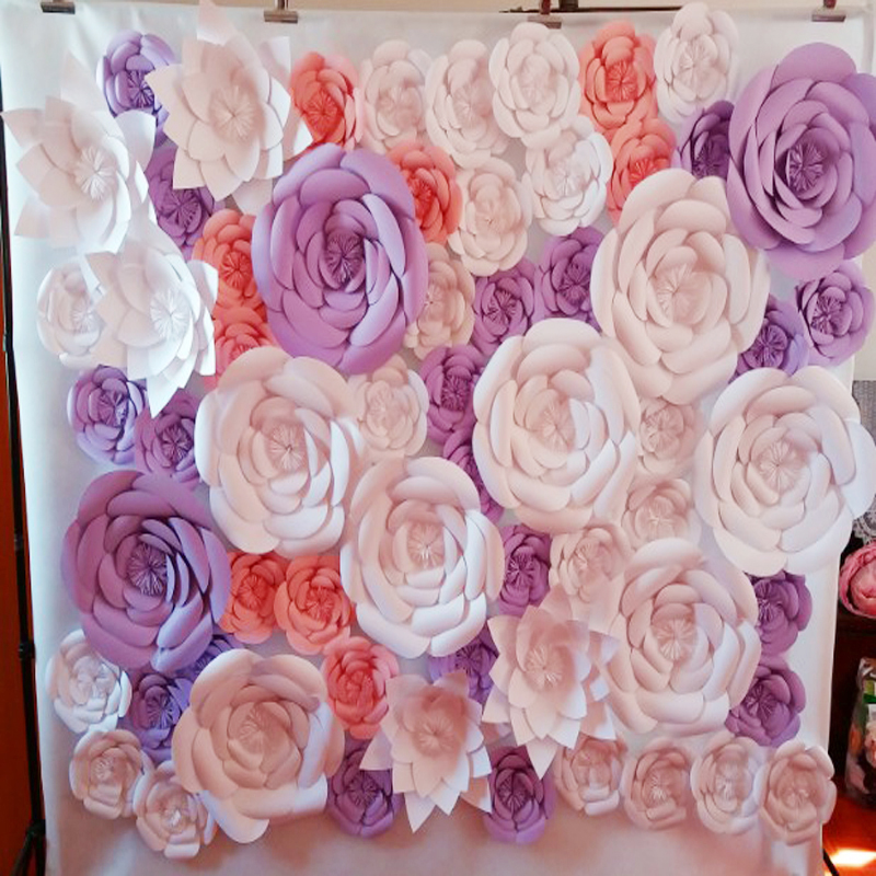 61pcs set giant paper flowers wedding backdrop paper. Black Bedroom Furniture Sets. Home Design Ideas