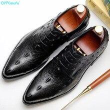 QYFCIOUFU Men's formal crocodile shoes Genuine Leather Male Wedding Party Office Men dress shoe pointed toe oxford shoes for men стоимость