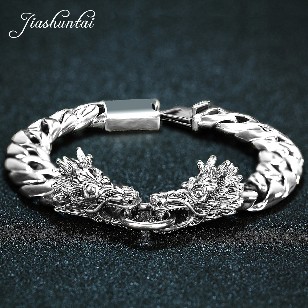 JIASHUNTAI Retro 100% 925 Sterling Silver Double Dragon Bracelets For Cool Men Vintage Silver Jewelry 925 sterling silver handmade vintage thai retro men jewelry wide heavy domineering dragon bracelets ch058882
