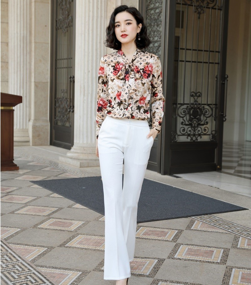 Novelty Women Business Suits Formal 2 Piece Set With Pants And Tops OL Styles Ladies Office Blouses & Shirts Pantsuits Floral