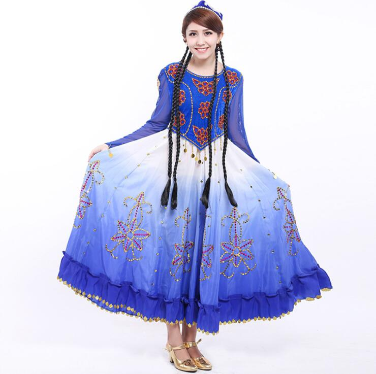 Women Xinjiang costume national dance performance costumes female stage performance costumes light blue dress