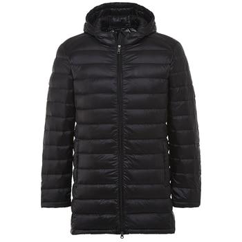2018 New Men Ultra Light Down Jacket Spring Autumn Winter Long Down Coat Water Resistant Windproof Warm Duck Down Hooded Parkas
