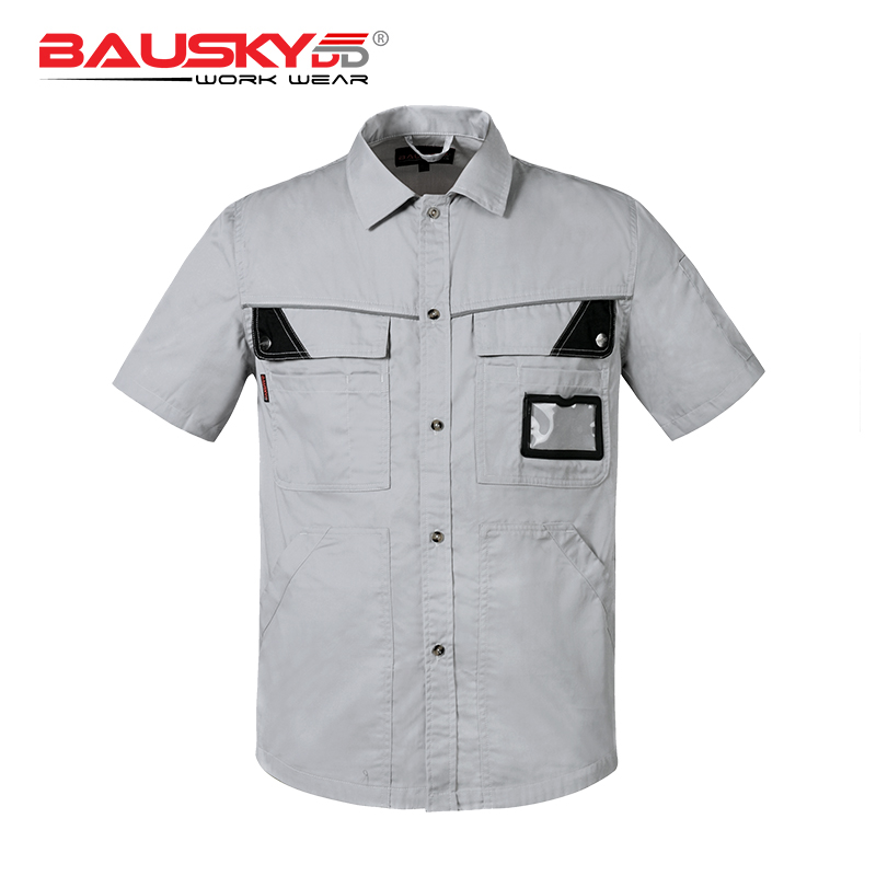 Grigio chiaro usura del lavoro lavoro uniforme camicia con tascheGrigio chiaro usura del lavoro lavoro uniforme camicia con tasche