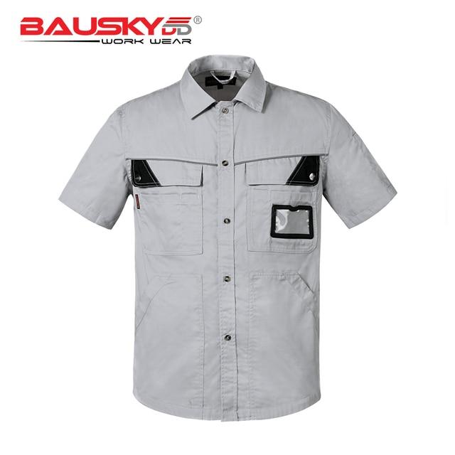 Light grey work wear uniform work shirt with pockets