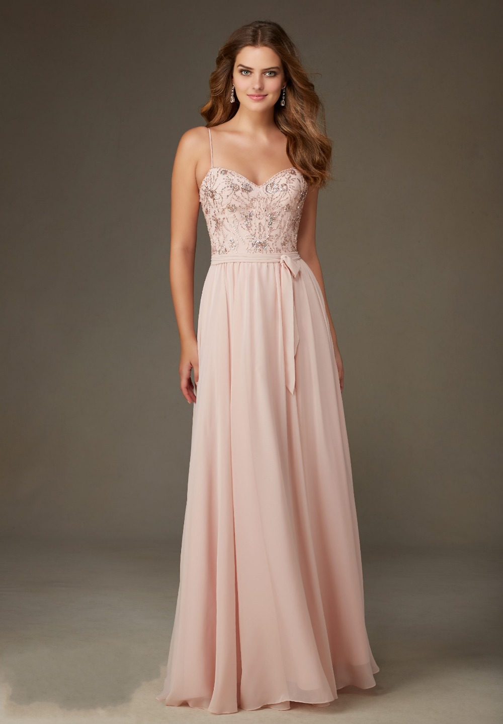 Chiffon long blush pink bridesmaid dresses 2016 sweetheart chiffon long blush pink bridesmaid dresses 2016 sweetheart spaghetti straps beading crystal sequins ribbon backless party dress in bridesmaid dresses from ombrellifo Images