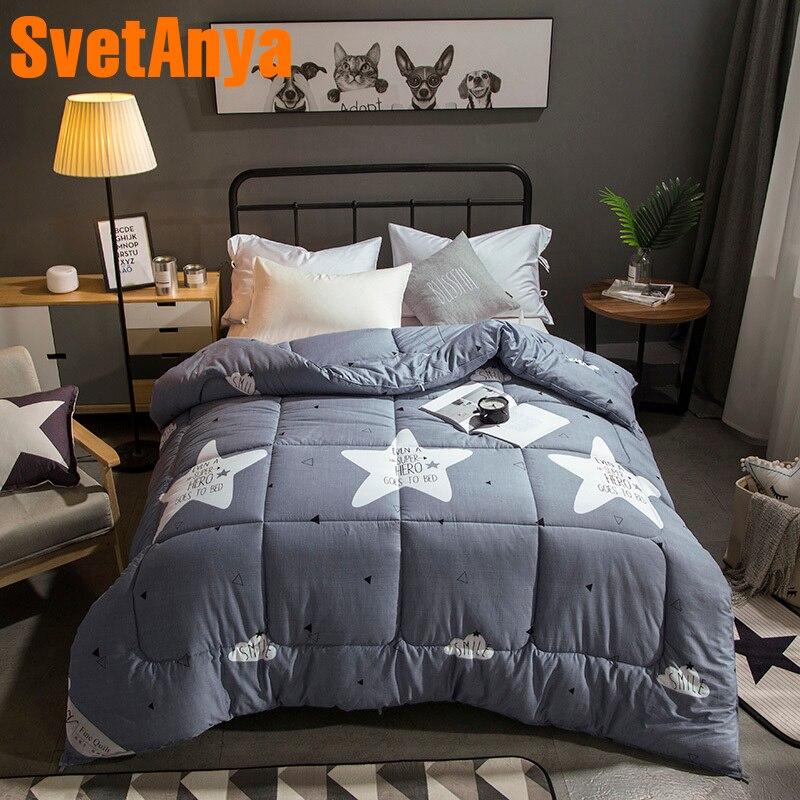 Svetanya Gray Comforter Star print Throws Blanket quilted Quilt 150x200cm 180x210cm 200x230cm 220x240cm Plaids