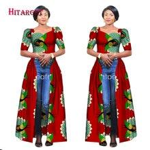 Hitarget 2017 Afrikkalainen mekot naisille Dashiki puuvilla vaha Tulosta Batik pitkä mekko Femal Perinteinen Afrikka vaatteet WY2217