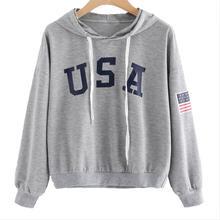 Худи кофты Для женщин Повседневное с капюшоном Для женщин с длинным рукавом с буквенным принтом Флаг США тянуть роковой плюс Размеры Пуловеры женский, черный серый