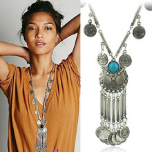 Vintage tassel coins pendant necklace Gypsy Tribal Ethnic Turkish alloy women's long sweaters chain gargantilha kolye CX291