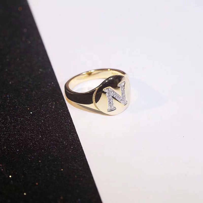 Круглые золотые Цвет начальные кольца 3A Циркон Письмо категории A, B, C, A-Z имя кольцо Для женщин девочек модное, Брендовое, S925 стерлингового серебра Монако ювелирные изделия
