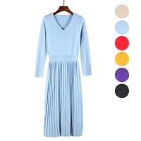 Women Sweater Knitted Dresses pleated Slim Elastic V Long Sleeve Sexy Lady Bodycon Robe Dresses Vestidos winter autumn