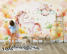 beibehang Customized beautiful personality silky wall paper Nordic simple dream pony childrens room background 3d wallpaper