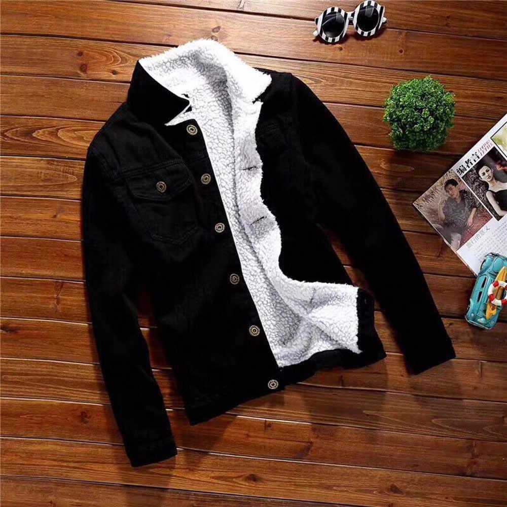 Spring Autumn Winter New 2019 Women lambswool jean Coat With 2 Pockets Long Sleeves Warm Jeans Coat Outwear Wide Denim Jacket#60