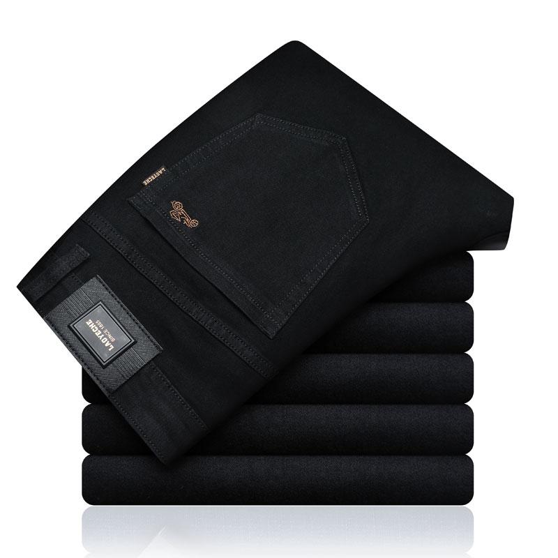 2019 Nouveau Automne Hiver Chaud Jeans Hommes Marque Vêtements Noir Épais Pantalons En Denim Mâle Qualité Pantalon