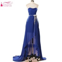 Short Front Long Back Royal Blue Chiffon Hi Lo Homecoming Dresses 2017 Cheap China Dress Alibaba