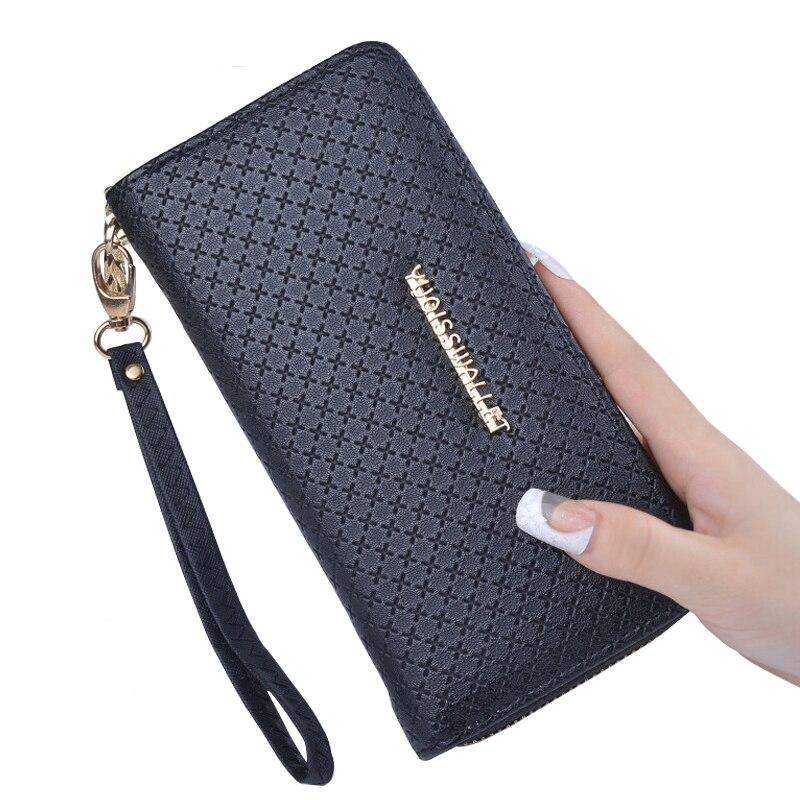 Women Wallets Leather Coin Purse Female Long Wallet Wristlet Zipper Card