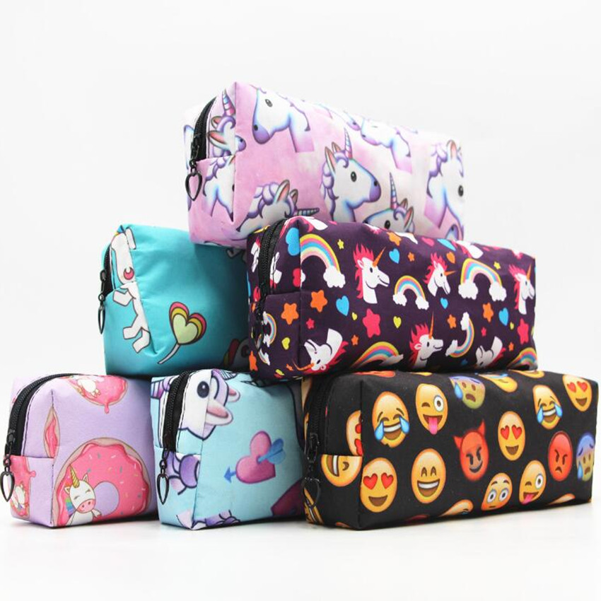 M381 Creative Coin Purses Sweet Lady Cartoon Animal Prints QQ Expression Cute Horse Oxford Waterproof Coin Pen Zero Pocket