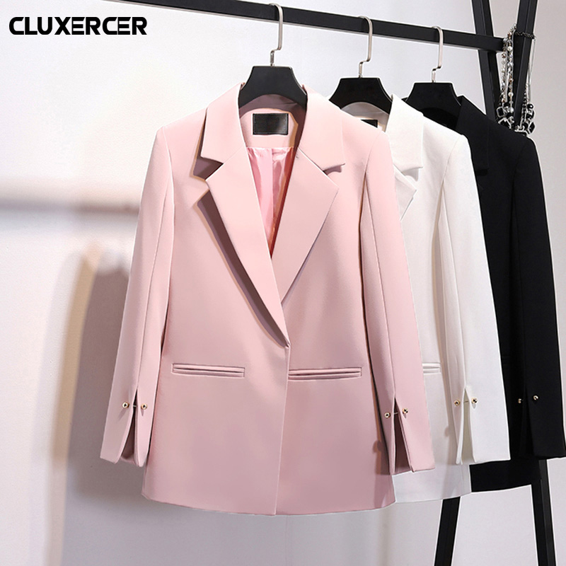 2019 Spring New Pink White Blazers Notched Collar Cuffs Split Fork Pearl Decoration Pocket Ladies Fashion Suits