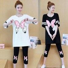 Летний корейский модный костюм для беременных рубашка с рисунком Микки-бабочки+ брюки с подтяжками желудка из двух предметов