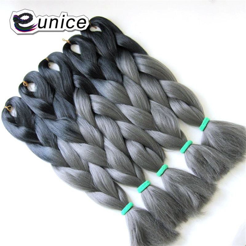 Hair Braids Eunice Jumbo Braids Ombre Hair Extensions Blue High Temperature Fiber Synthetic African Braiding Hair Crochet 100g
