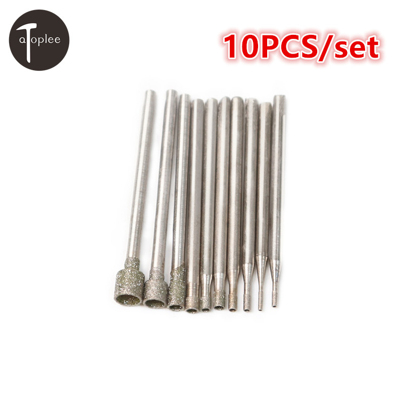 10Pcs/Set 2.35mm Shank Cylinder Diamond Burrs Bits Grinding Head Rotary Tool Engraving Etching Abrasive Tools 5pcs diamond grinding burr drill bits 3mm shank round engraving grinding head for dremel rotary tool metal drilling 5 6 8 10mm