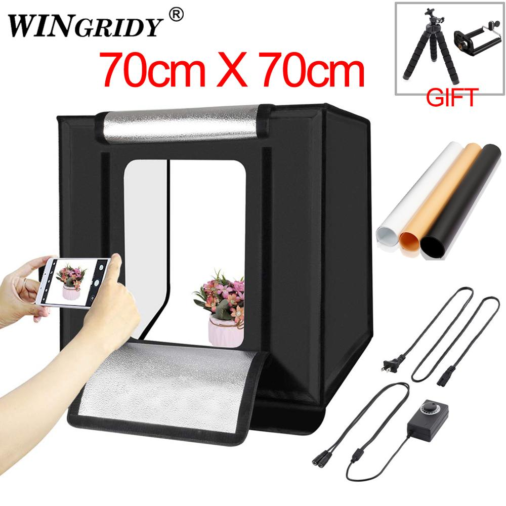 WINGRIDY 70cm LED Folding Photo Studio Softbox Lightbox 70*70 light Tent W70 white yellow black background Accessories box lightWINGRIDY 70cm LED Folding Photo Studio Softbox Lightbox 70*70 light Tent W70 white yellow black background Accessories box light