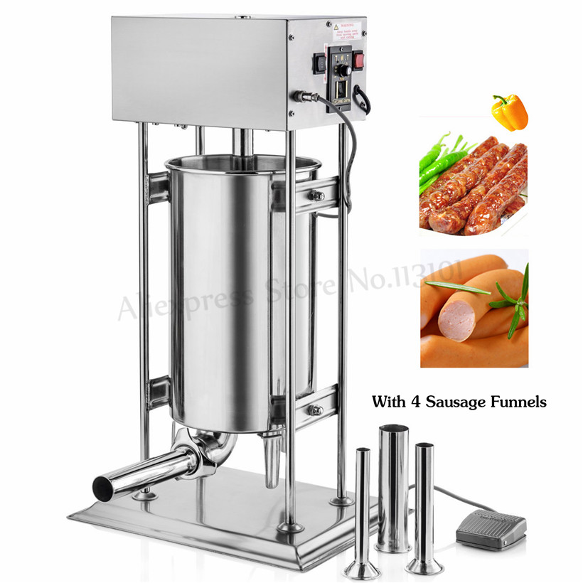 Commercial Electric Sausage Stuffer 12Liters Sausage Filling Machine Automatic Churros Making Machine Stainless Steel 110V/220V
