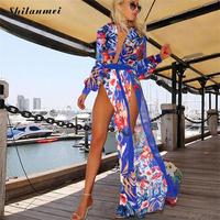 2017 Summer Bohemian Beach Dress Maxi Dress Strand Jurkjes Chiffon Boho Long Tunic Cardigan Cover Up