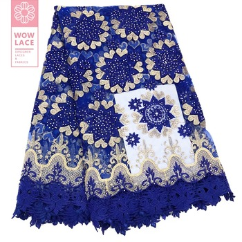 Rhinestones Beautiful Embroidery Mesh Tulle Laces In Royal Blue Colour French Guinean Party Dress Stones Guipure Voile Material