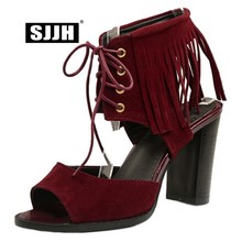 SJJH Woman Roman Sandals with Peep Toe High Chunky Heels 9.5cm Cross-tied Footwear Fashion Casual Shoes Large Size A619