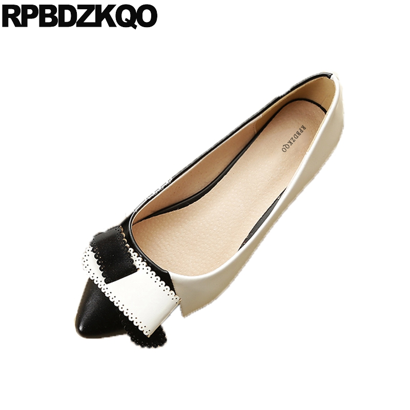 Korean Ladies Women 11 Size 33 Large Designer Bow Pointed Toe Kawaii Flats Wide Fit Shoes Black And White Shallow 10 Slip On odetina 2017 new designer lace up ballerina flats fashion women spring pointed toe shoes ladies cross straps soft flats non slip