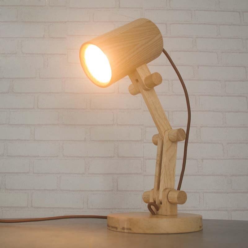 Деревянный art лампа современный минималистский детская комната обучения лампа Исследование Гостиная Деревянный творческих настольные лам...