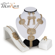 купить MUKUN Exquisite Dubai Jewelry Set crystal earrings necklace set Gold color Nigerian Wedding African Beads Jewelry Set Design в интернет-магазине