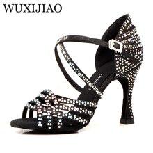 WUXIJIAO chaussures de bal en satin noir pour femmes, chaussures de danse latine, grands petits strass, talon brillant à talons Cuba 9cm