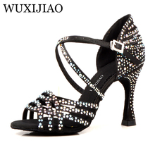 WUXIJIAO النساء الصلصا أحذية قاعة الرقص اللاتينية أحذية كبيرة صغيرة حجر الراين مشرقة الجلد الأسود الساتان كوبا كعب 9 سنتيمتر