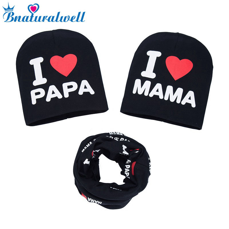 Bnaturalwell Spring Autumn Baby Knitted Warm Cotton Beanie Hat Set Toddler Kids Girl Boy Letter Print Beanies H110S