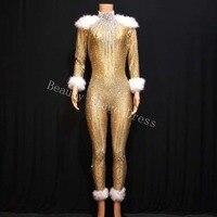 Длинные рукава Стразы Золото растягивающийся костюм женщины джаз танец Боди с перьями наряд вечернее шоу цельный день рождения одежда DS