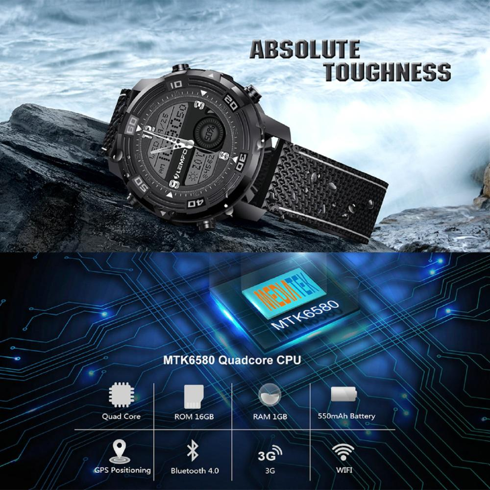 lemfo lem6 3g men's android smartwatch phone with ip67 waterproofness heart rate monitor and gps