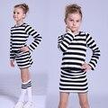 Vestidos de las muchachas 3 4 5 6 7 8 9 10 11 12 Años primavera Otoño Raya de La Manga Larga de Las Muchachas Ropa 2016 Ropa Del Niño Del Bebé