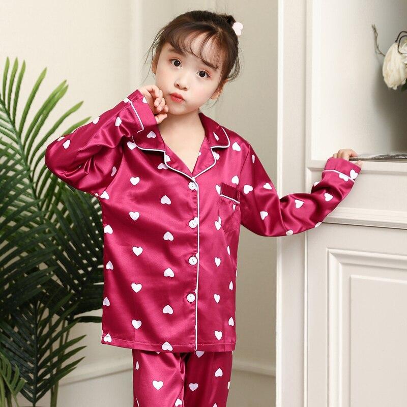 Girls Pajamas 2019 Autumn Winter Long Sleeve Children's Sleepwear Set Silk Pajamas Set Boys Pyjamas Sets For Kids Nightwear Set