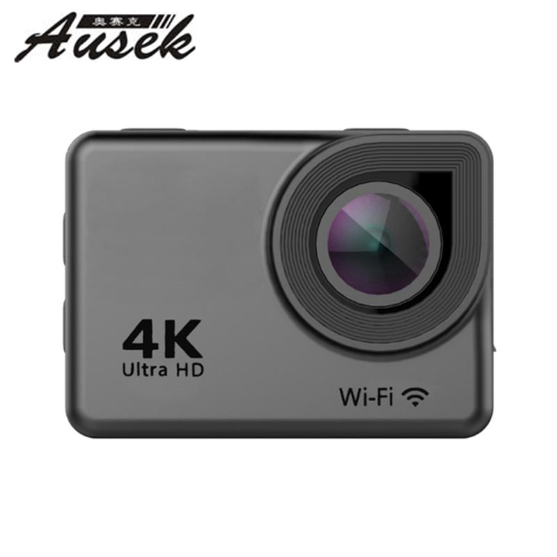 Ausek AT-38 4K 170 Degree Ultra HD Wide-Angle Waterproof WIFI Sports Action Camera Black for Camera Drone VS Hawkeye SJcam f88 action camera black