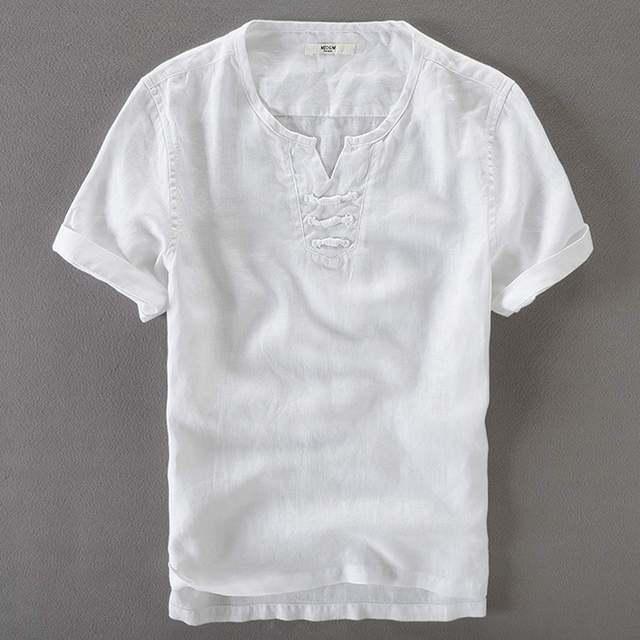 US $20 99 |Unique linen shirt men white short sleeve summer shirts men  brand clothing fashion mens shirt solid casual shirts male camisa-in Casual
