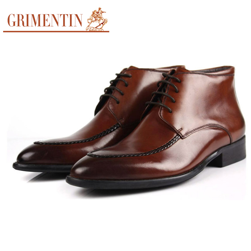 GRIMENTIN Fashion classic casual cowboy ankle boots men shoes genuine leather black business office shoe mens dress - store