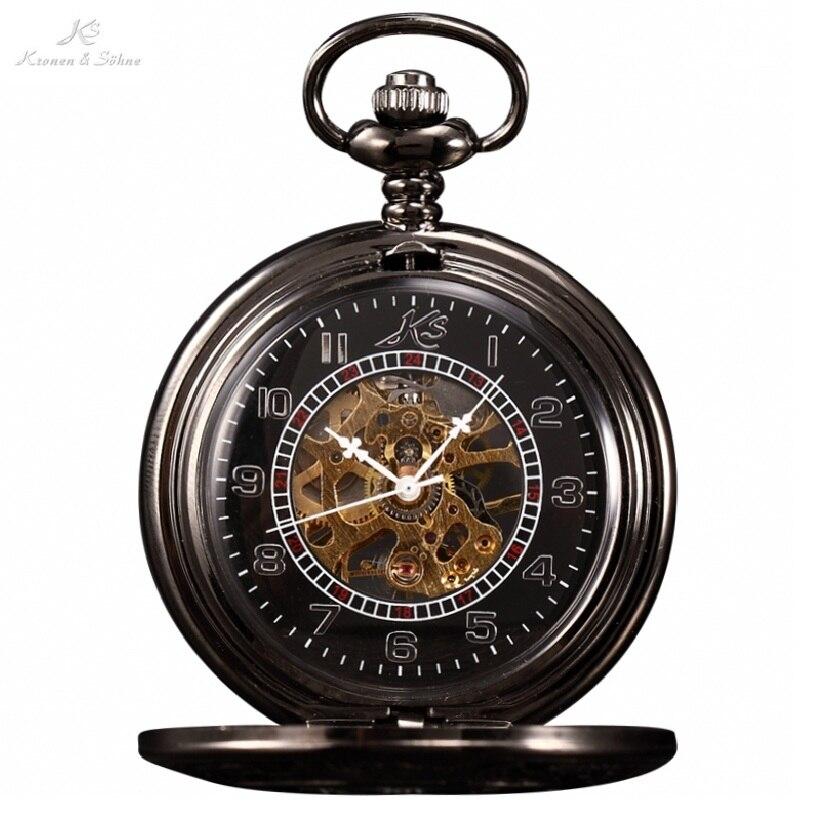 KS Classic Elegant Hand Winding Vintage Unique Roman Numerals Round Pendant Hunter Mechanical Jewelry Chain Pocket Watch /KSP004