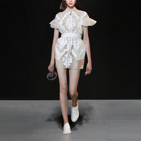 Vintage Runway Designer Dress 2018 Lady High Quality Stand Collar Butterfly Sleeve Lace Organza Patchwork Women Short Dress
