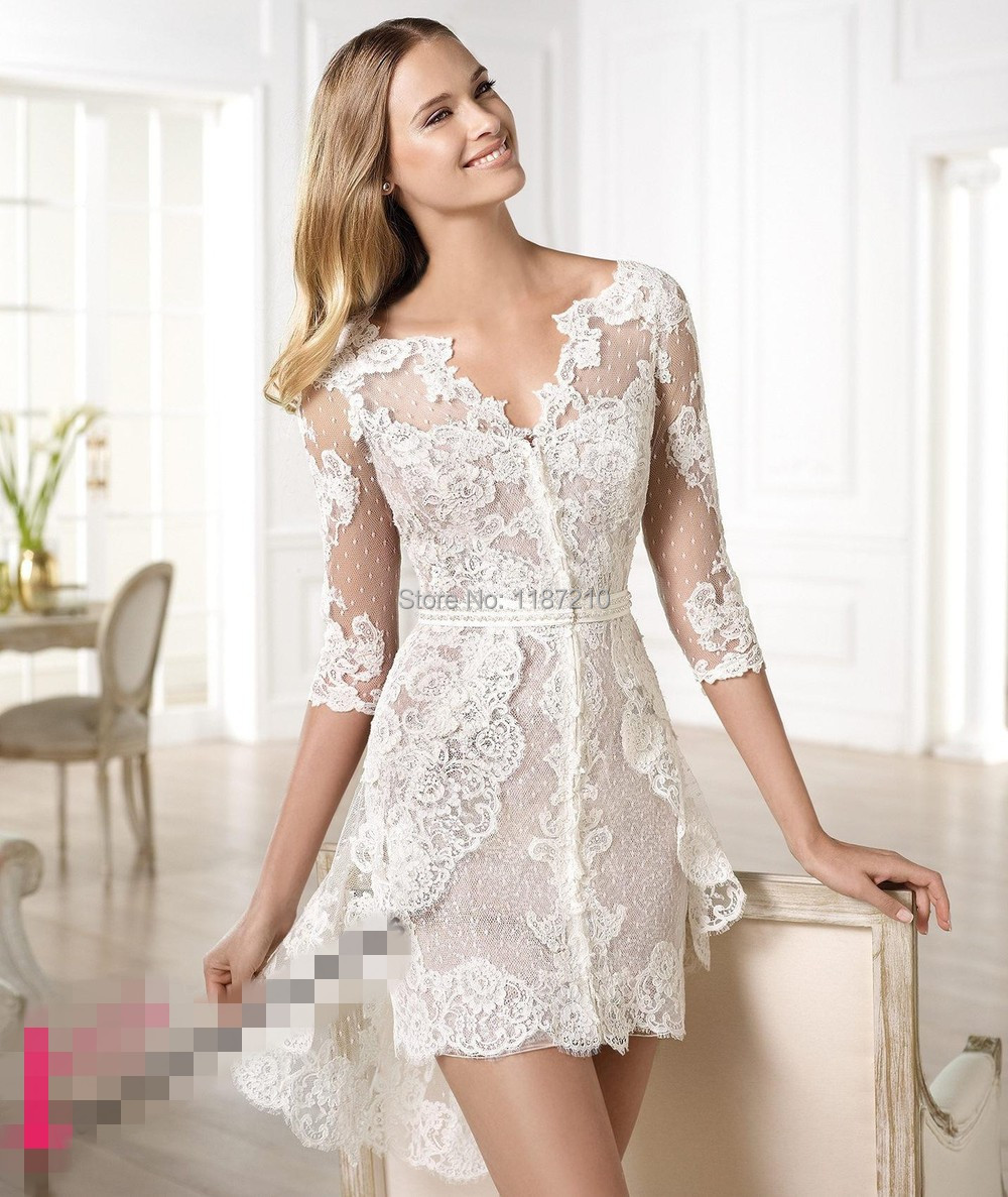 Bride Gowns 2015: 2015 Beautiful Sheer Lace Wedding Dresses V Neck Short