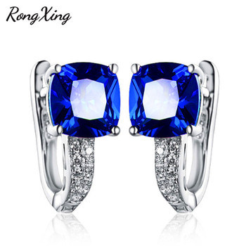 RongXing Square Blue Red Pink White Zircon Hoop Earrings For Women 925 Sterling Silver Filled Jewelry.jpg 350x350 - RongXing Square Blue/Red/Pink/White Zircon Hoop Earrings For Women 925 Sterling Silver Filled Jewelry Birthstone Earrings HE079