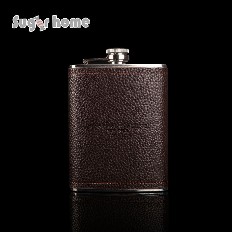 Mealivos brown 8 oz stainless steel hip flask whiskey Flask for Alcohol Bottle vodka Whiskey bottle groomsmen gifts in Hip Flasks from Home Garden